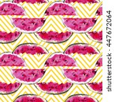 watercolor watermelons seamless ... | Shutterstock . vector #447672064