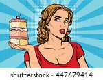 pop art girl diet cake retro... | Shutterstock .eps vector #447679414
