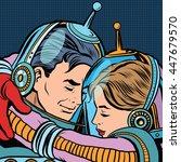 retro love couple astronauts... | Shutterstock .eps vector #447679570