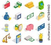 money icons set in isometric 3d ...