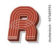 sport font  letter r  running... | Shutterstock .eps vector #447685993