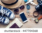 travel clothing accessories... | Shutterstock . vector #447704368