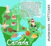 canada map travel and landmark... | Shutterstock .eps vector #447711664