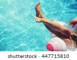 beautiful little girl sunning... | Shutterstock . vector #447715810