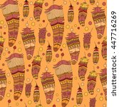 seamless pattern with feather... | Shutterstock .eps vector #447716269
