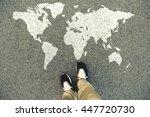 world map on an asphalt road.... | Shutterstock . vector #447720730