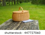 picnic basket with blue white... | Shutterstock . vector #447727060
