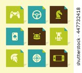 vector flat icons set   game