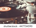party dj turn table vinyl... | Shutterstock . vector #447734590