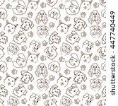 heads of dogs cartoon seamless... | Shutterstock .eps vector #447740449