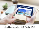 holiday reservation website... | Shutterstock . vector #447747118