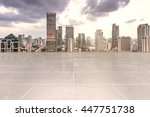 empty floor with modern skyline ... | Shutterstock . vector #447751738