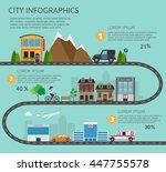 set of buildings in the travel... | Shutterstock .eps vector #447755578