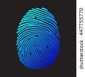 blue color fingerprint on black ... | Shutterstock . vector #447755770