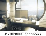 office workplace with dark... | Shutterstock . vector #447757288