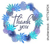 thank you card. floral  wreath. ... | Shutterstock .eps vector #447763924