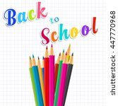 back to school message on paper ... | Shutterstock .eps vector #447770968
