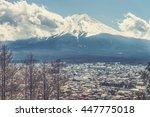 fujikawa town and mountain fuji ... | Shutterstock . vector #447775018