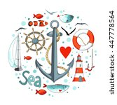 collection of nautical elements ... | Shutterstock .eps vector #447778564