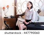 positive beautiful woman... | Shutterstock . vector #447790060