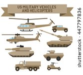 Set of the US  military combat vehicle and helicopters. Flat design.Set of the  military combat vehicle and helicopters. Flat design.