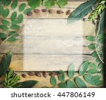 flat lay green leaves and copy... | Shutterstock . vector #447806149