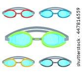 pool goggles vector... | Shutterstock .eps vector #447816559