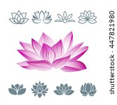 lotus flower icons set. vector... | Shutterstock .eps vector #447821980