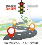 navigation concept with traffic ... | Shutterstock .eps vector #447822400