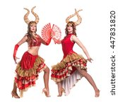 two women dancers with horns.... | Shutterstock . vector #447831820