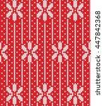 seamless flowers knitting... | Shutterstock .eps vector #447842368