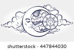 vintage hand drawn moon  sun... | Shutterstock .eps vector #447844030
