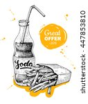 fast food special offer. hand... | Shutterstock . vector #447853810