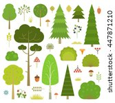 Set Of Flat Vector Forest...