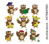 set of cartoon vector owls of... | Shutterstock .eps vector #447884980