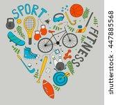 hand drawn doodle set of... | Shutterstock .eps vector #447885568