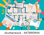 team of people working together ... | Shutterstock .eps vector #447890944