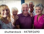 group of seniors doing a selfie ... | Shutterstock . vector #447892690