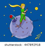 the little prince works on his... | Shutterstock .eps vector #447892918