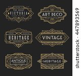 Stock vector vintage line frame design for labels banner logo emblem apparel t shirts sticker and other 447893569