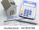 blue ballpoint pen  a... | Shutterstock . vector #447893788
