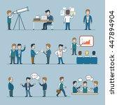linear flat vector business... | Shutterstock .eps vector #447894904
