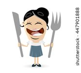 funny comic woman with cutlery | Shutterstock .eps vector #447901888