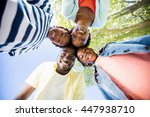 happy family posing together at ... | Shutterstock . vector #447938710
