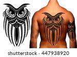 owl in maori   polynesian style ... | Shutterstock .eps vector #447938920
