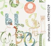 seamless grunge doodle... | Shutterstock .eps vector #447945529