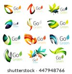 set of abstract leaves. nature... | Shutterstock .eps vector #447948766