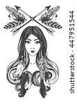 woman with feathers and arrows. ... | Shutterstock .eps vector #447951544