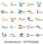 set of abstract ribbon logo... | Shutterstock .eps vector #447952606