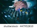 dj mixes the track in nightclub ... | Shutterstock . vector #447952810